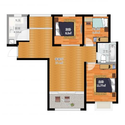 锦尚名城二期3室2厅1卫1厨88.00㎡户型图