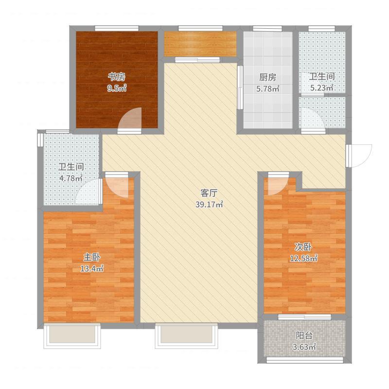 瀛洲第一城三室两厅9号楼