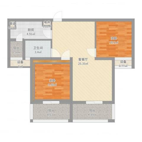 东郡华庭2室2厅1卫1厨85.00㎡户型图