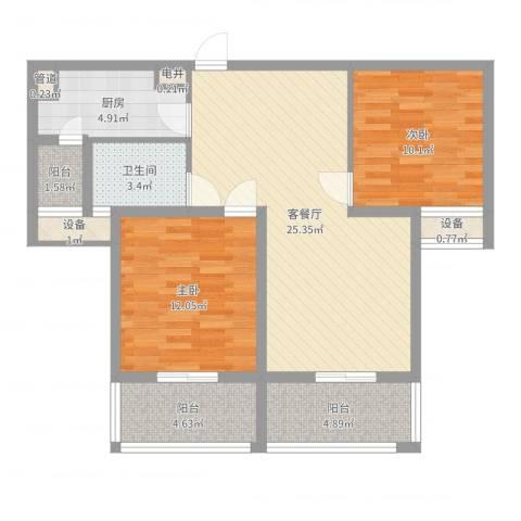 东郡华庭2室2厅1卫1厨86.00㎡户型图