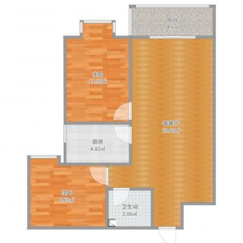 翰林北苑2室2厅1卫1厨77.00㎡户型图