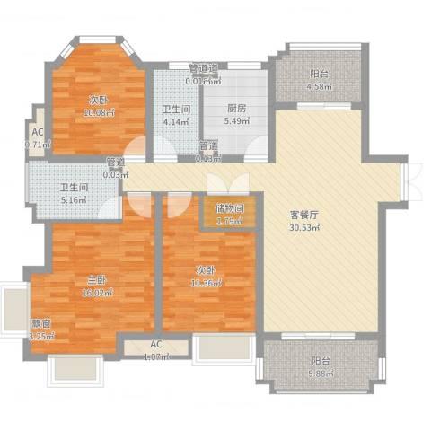 优山美地别墅3室2厅2卫1厨121.00㎡户型图