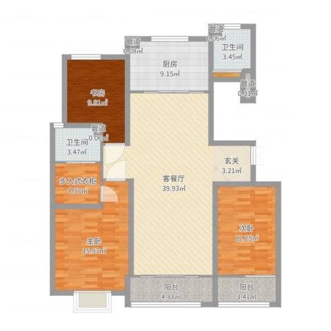 凤鸣郡3室2厅2卫1厨134.00㎡户型图