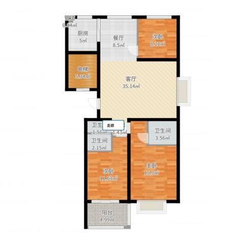 裕昌大学城3室1厅2卫1厨115.00㎡户型图