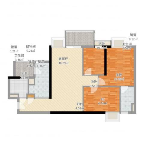 博雅御轩3室2厅2卫1厨103.00㎡户型图
