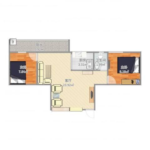 大石海滨花园2室1厅1卫1厨65.00㎡户型图