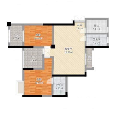 绿洲白马公馆2室2厅2卫1厨100.00㎡户型图