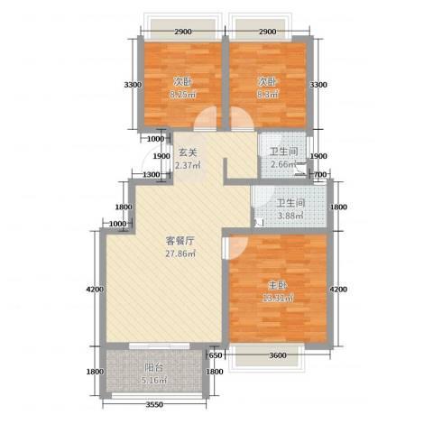 荣盛楠湖郦舍3室2厅2卫0厨95.00㎡户型图