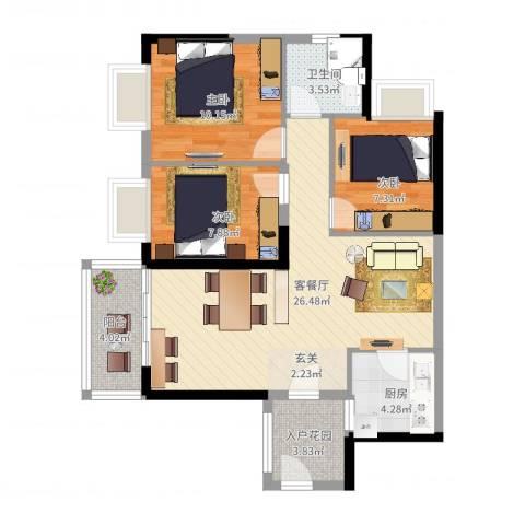 金沙・山海名门3室2厅1卫1厨97.00㎡户型图