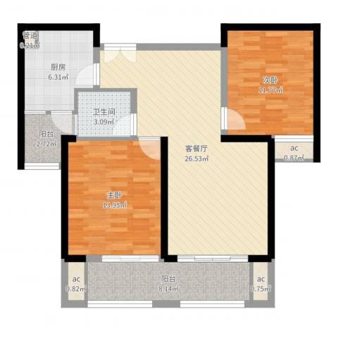 中乐江南名都2室2厅1卫1厨94.00㎡户型图