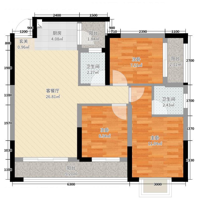 振宁星光广场89.00㎡2号楼01/02户型3室3厅2卫1厨