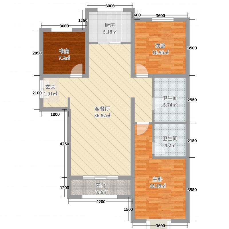 富力城129.52㎡三期O户型3室3厅2卫1厨