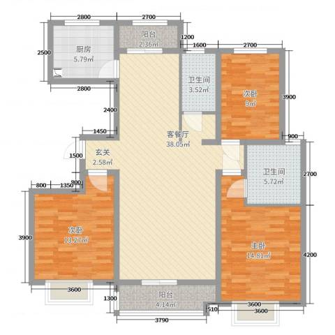 翡翠家园3室2厅2卫1厨136.00㎡户型图