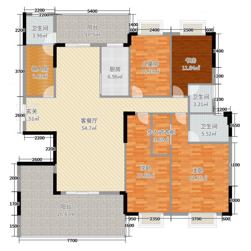 碧桂园公园壹号210.59㎡D-1户型4室4厅3卫1厨