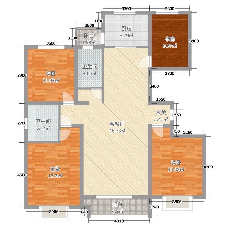 翡翠家园135.39㎡2号楼D户型3室3厅2卫1厨