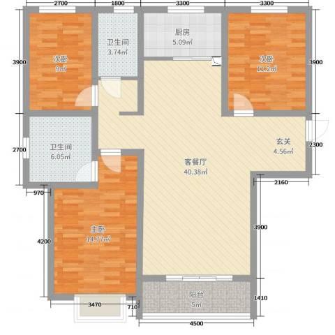 翡翠家园3室2厅2卫1厨135.00㎡户型图