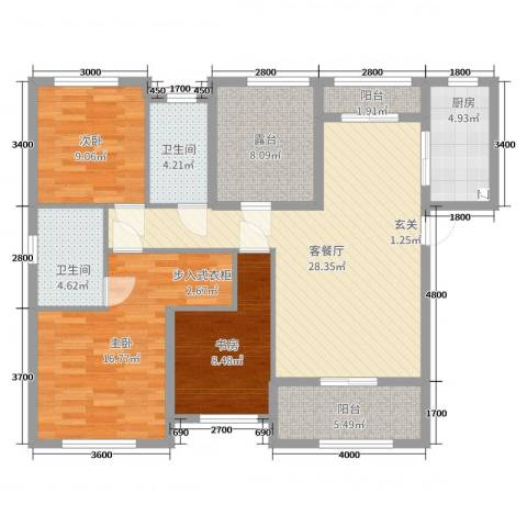 旭辉香樟公馆3室2厅2卫1厨118.00㎡户型图