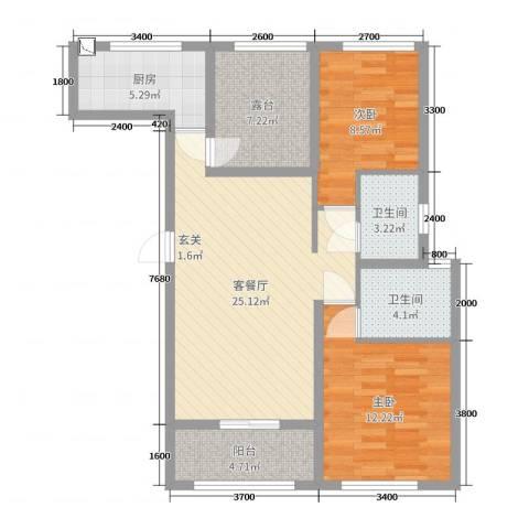 旭辉香樟公馆2室2厅2卫1厨97.00㎡户型图