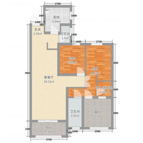 旭辉香樟公馆2室2厅2卫1厨95.00㎡户型图