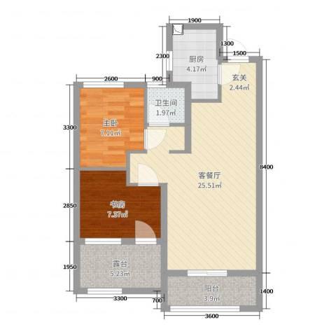 旭辉香樟公馆2室2厅1卫1厨77.00㎡户型图