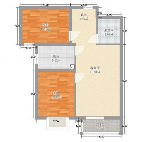 翡翠家园2室2厅1卫1厨84.00㎡户型图
