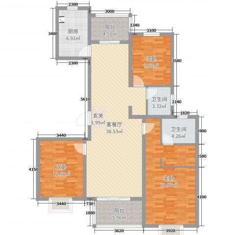绿地泊林公馆3室2厅2卫1厨134.00㎡户型图