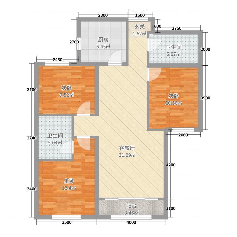 维多利大商城116.70㎡7#02户型3室3厅2卫1厨