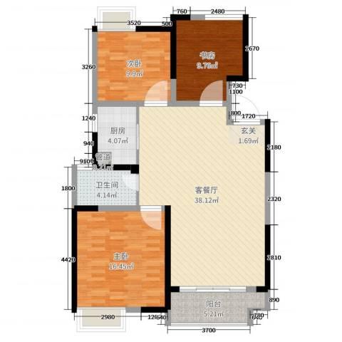 绿地中央广场3室2厅1卫1厨110.00㎡户型图