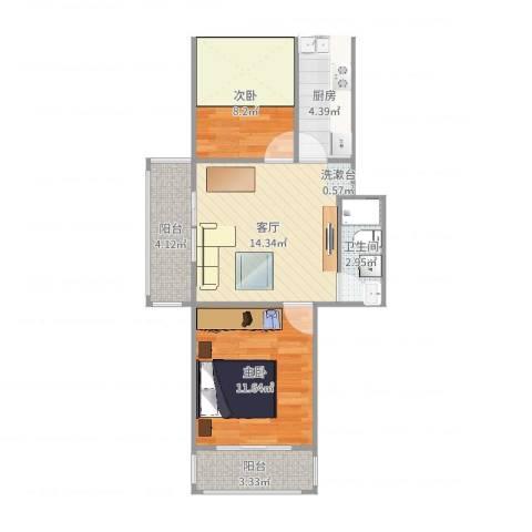洪家园小区2室1厅1卫1厨61.00㎡户型图