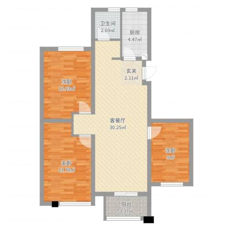 宝业梦蝶绿苑3室2厅1卫1厨95.00㎡户型图