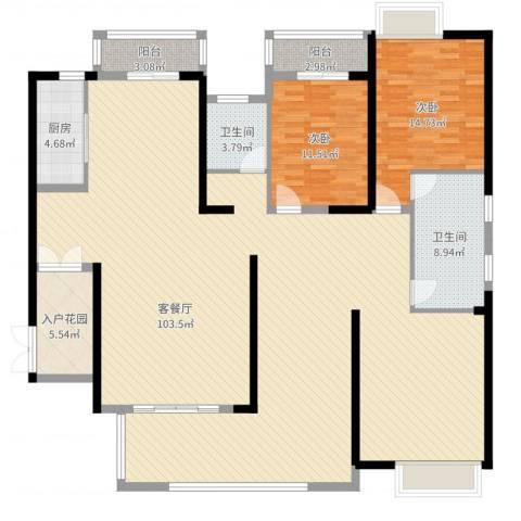 中建江山壹号2室2厅2卫1厨198.00㎡户型图