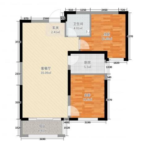 哈尔滨万达城2室2厅1卫1厨90.00㎡户型图