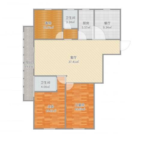 宝带小区2室2厅2卫1厨140.00㎡户型图
