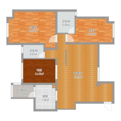 万科高尔夫花园3室2厅2卫1厨110.71㎡户型图