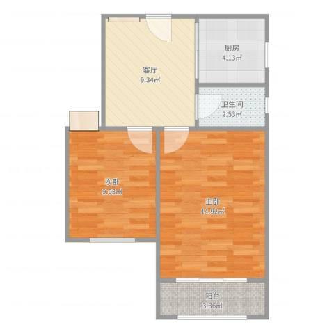 齐七小区2室1厅1卫1厨60.00㎡户型图