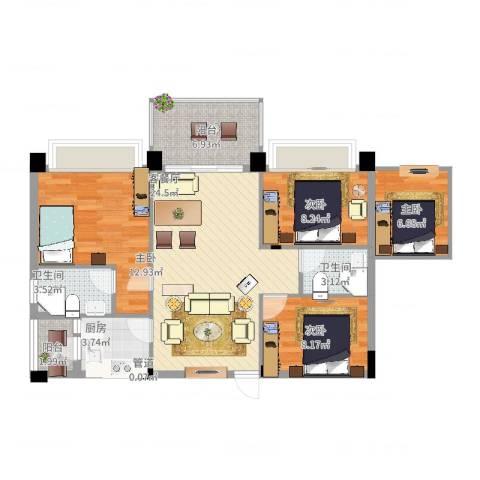 景湖春天4室2厅2卫1厨113.00㎡户型图