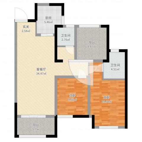 新城国际花都2室2厅2卫1厨109.00㎡户型图