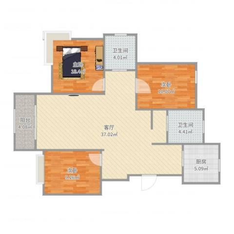莘香雅苑3室1厅2卫1厨105.00㎡户型图