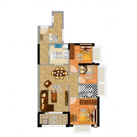 鑫月城3室2厅2卫1厨87.00㎡户型图