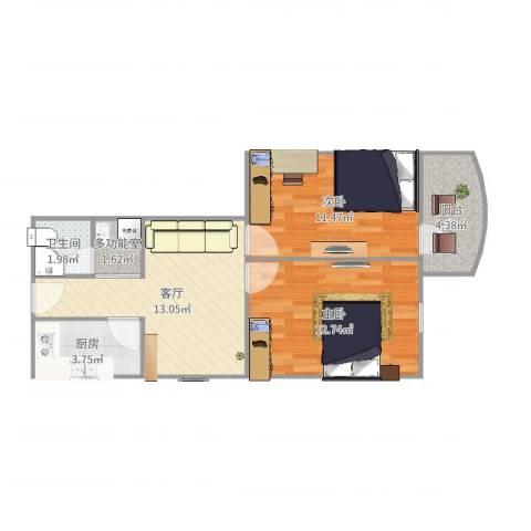 中关村南三街2室1厅1卫1厨64.00㎡户型图
