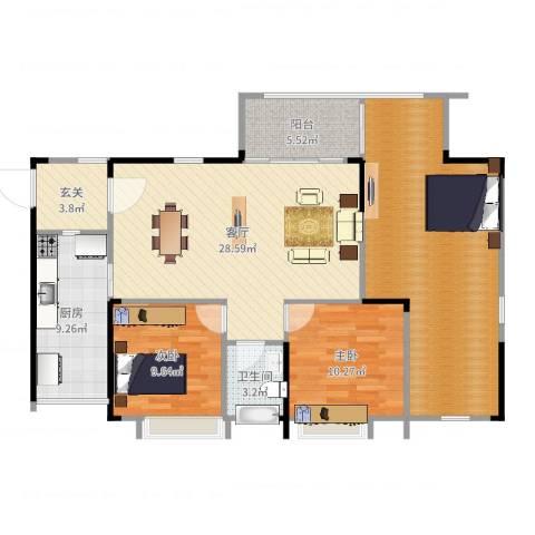 鸥鹏凤凰国际新城2室1厅1卫1厨121.00㎡户型图