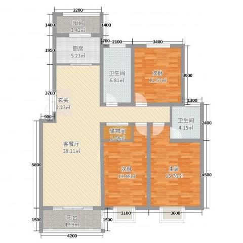 碧龙江畔3室2厅2卫1厨139.00㎡户型图