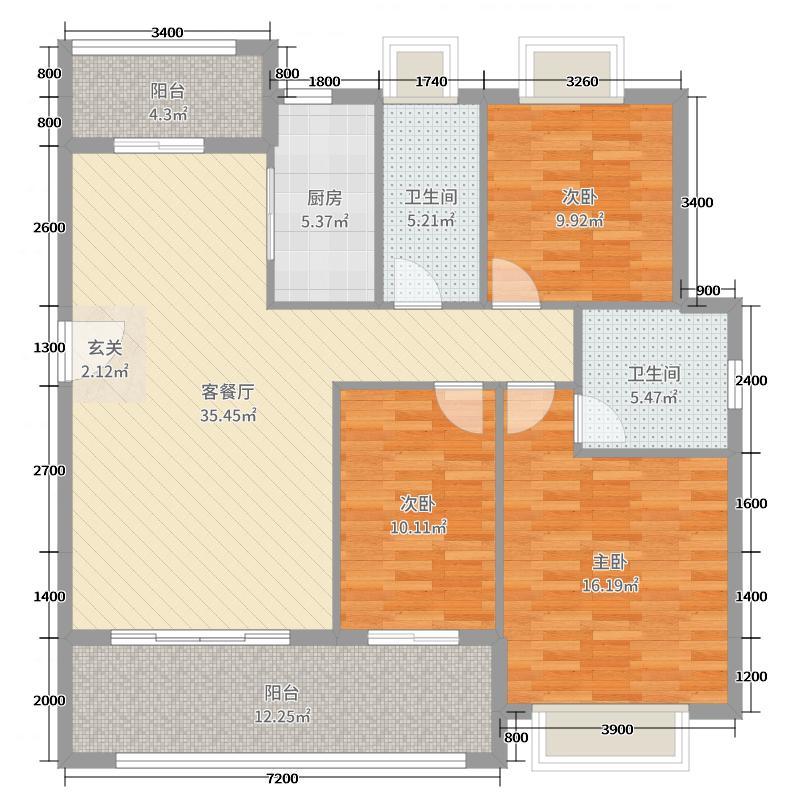 丽景江山129.00㎡5#7#8#9#楼B1户型3室3厅2卫1厨
