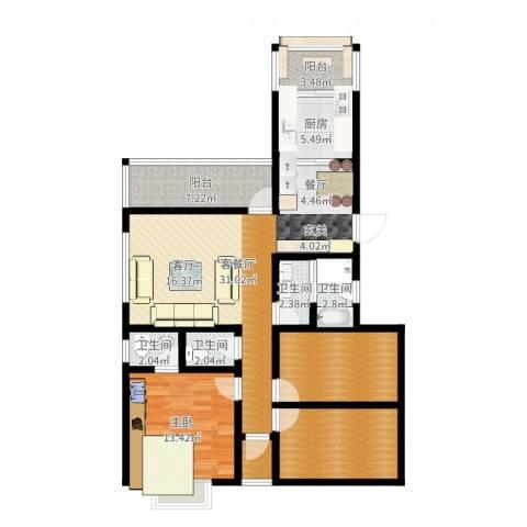 幸福香寓1室2厅4卫1厨114.00㎡户型图