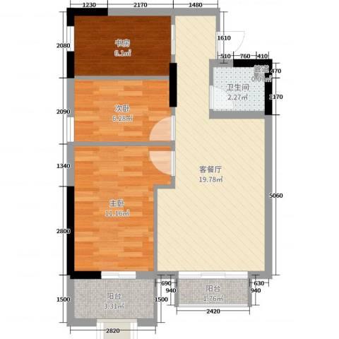 长盛上东区3室2厅1卫0厨88.00㎡户型图