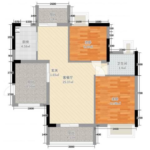 TCL康城四季2室2厅1卫1厨84.00㎡户型图