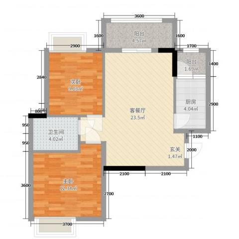 TCL康城四季2室2厅1卫1厨77.00㎡户型图