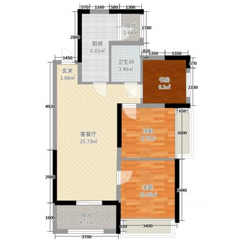 TCL康城四季3室2厅1卫1厨89.00㎡户型图