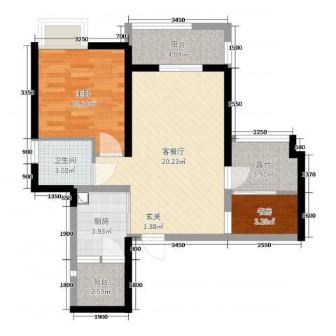 TCL康城四季2室2厅1卫1厨66.00㎡户型图