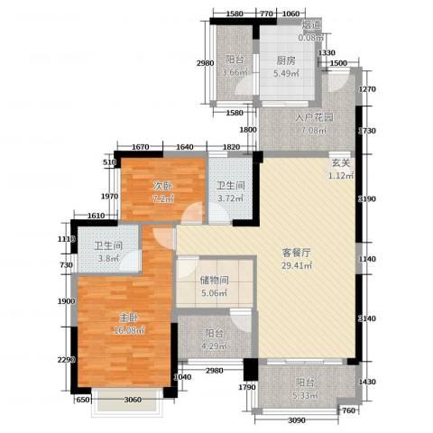 雅居乐御龙山2室2厅2卫1厨114.00㎡户型图